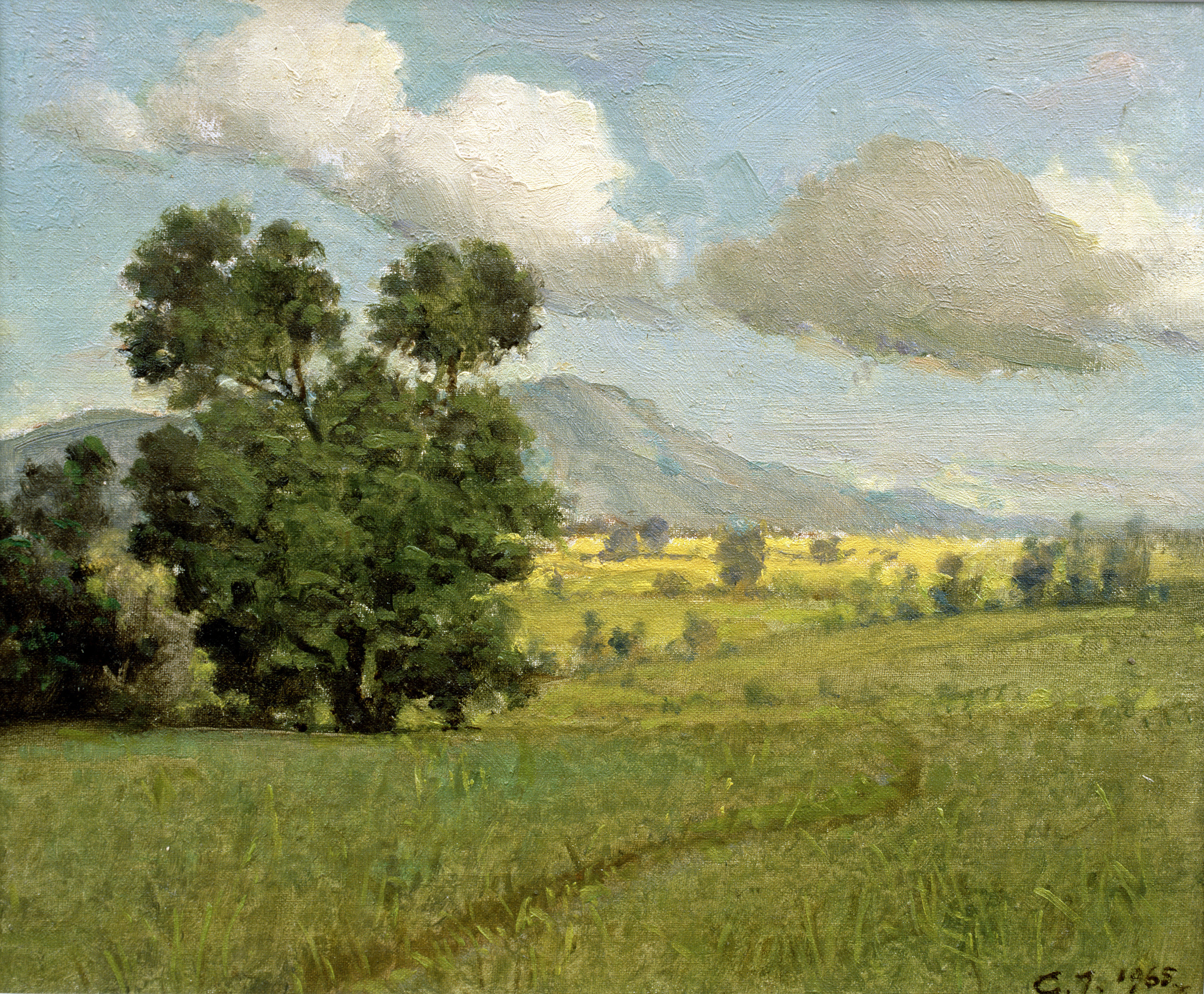 Gabrijel Jurkić, pejzaž, ulje-platno kaširano na kartonu, 15 x 18,5 cm, inv. broj 33