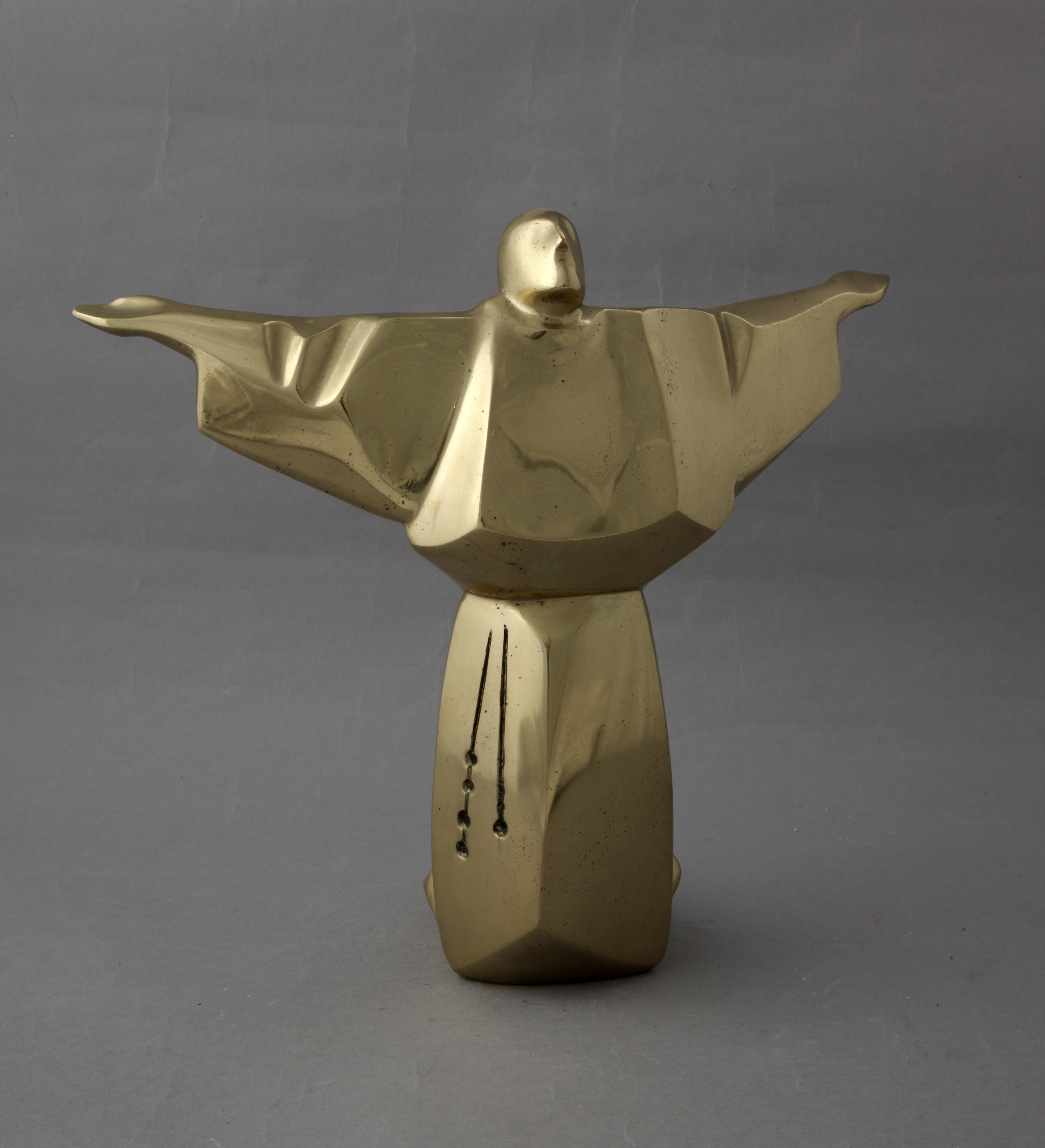Tomislav Ostoja, sveti Franjo, brončani odljev, bronca, 28,5 x 34 x 14 cm, inv.br. 78